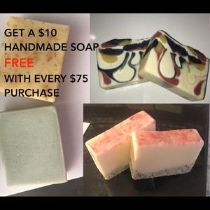 SALE Free $10 handmade soap w/ every $75+ purchase